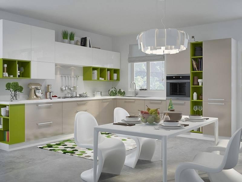 Кухня угловая с крашеным МДФ (крем и салатовый) №39