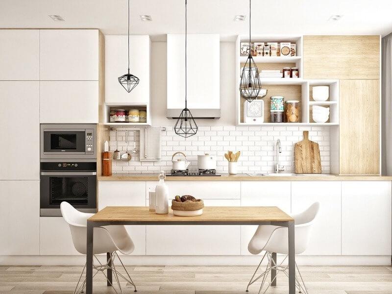 Линейная кухня с крашеным белым фасадом