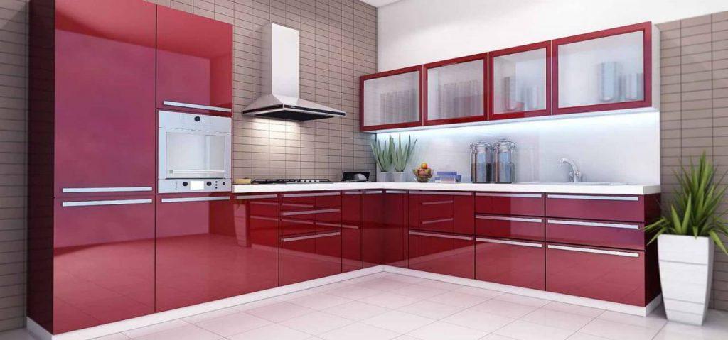 Угловая модерн кухня №53 бордо глянец