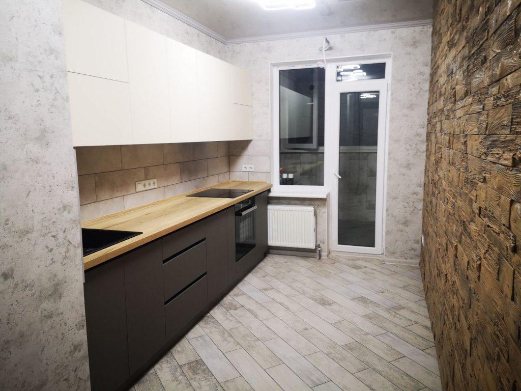 Прямая кухня без ручек минимализм №4